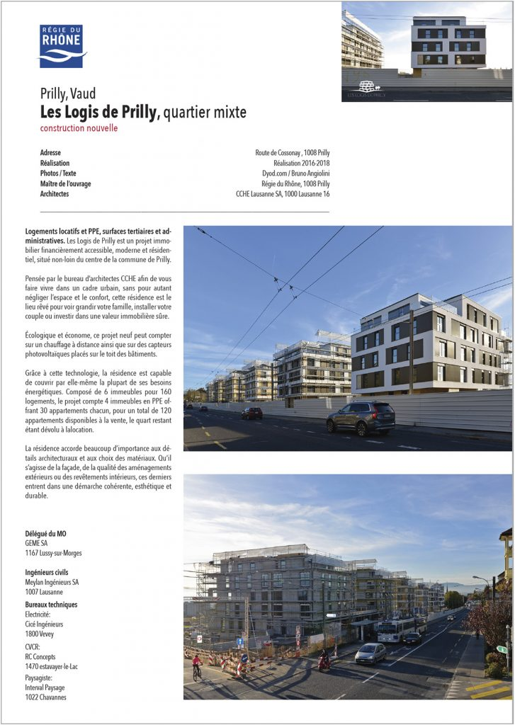 Les Logis de Prilly location vente Régie du Rhône CCHE Architectes