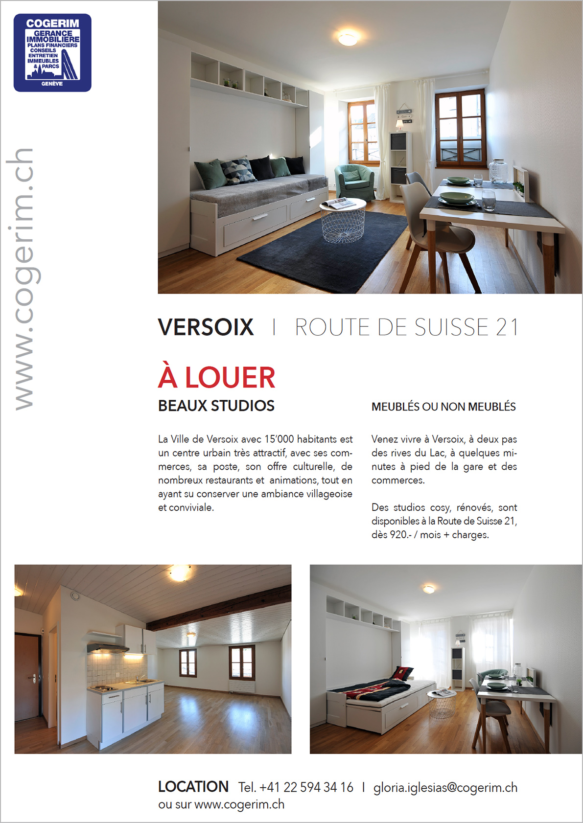 Flyer location studios à Versoix Genève Cogerim