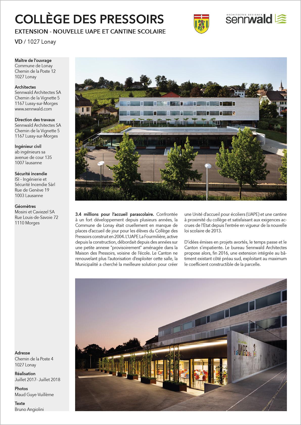 Collège de Lonay DYOD Sennwald Architectes