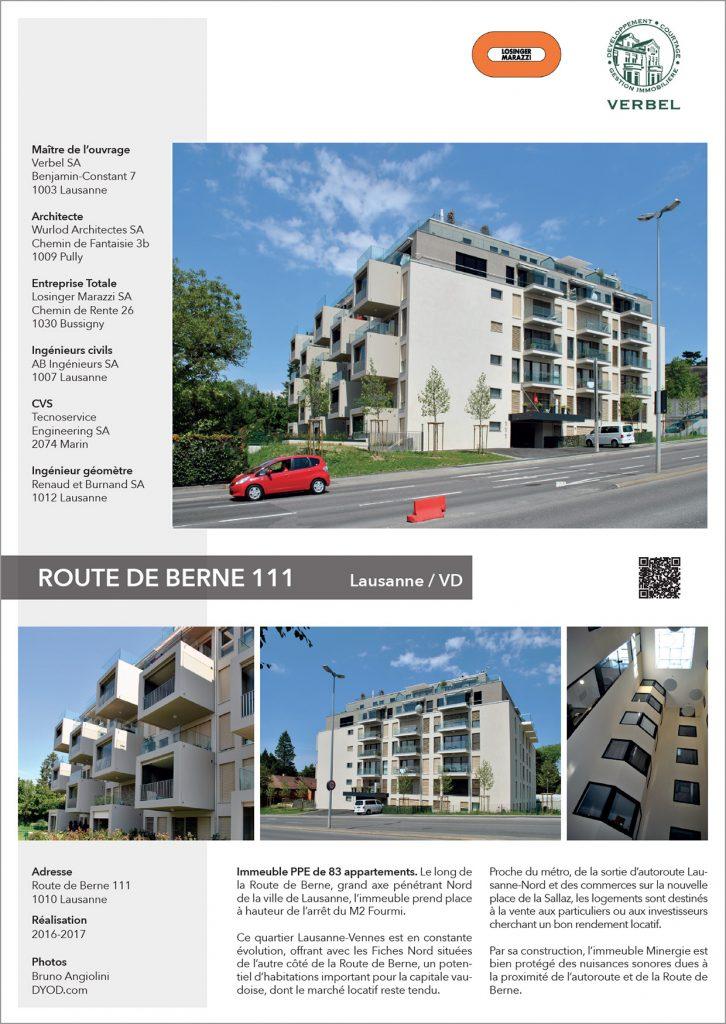 Immeuble Minergie avec des loyers abordables à Lausanne Route de Berne 111