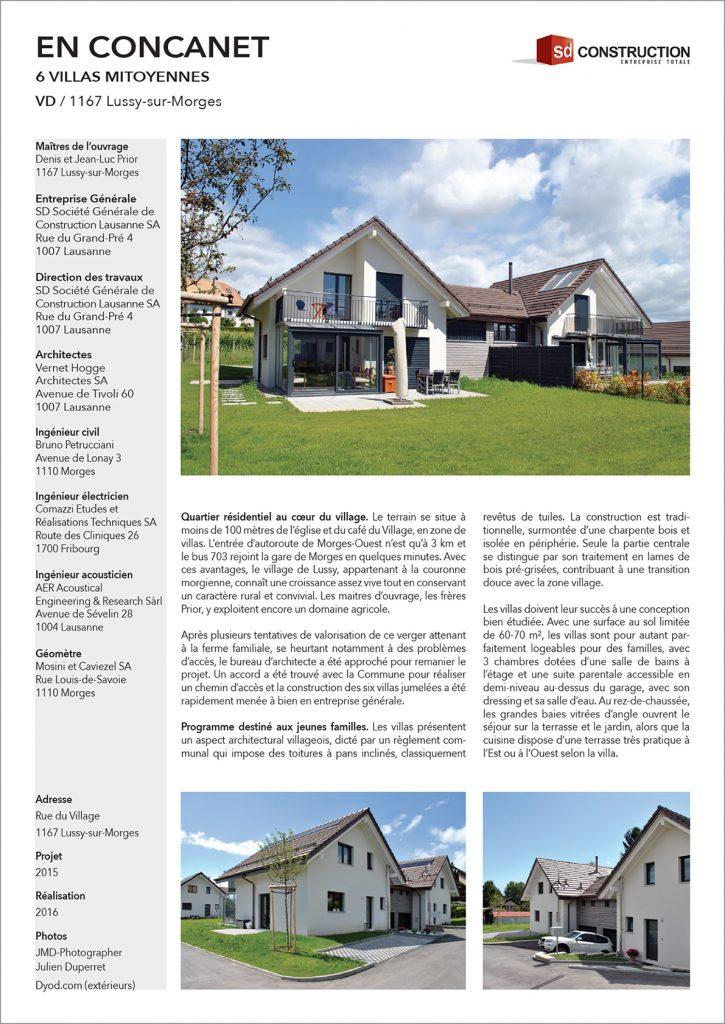 """Villas mitoyanne """"En Concanet"""" à Lussy-sur-Morges"""