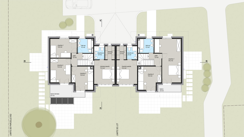 Plan étage villa mitoyenne Morges