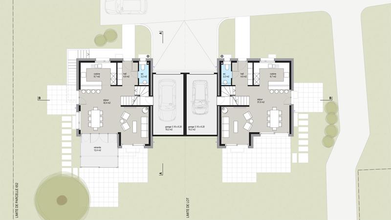 Plan villa mitoyenne Morges