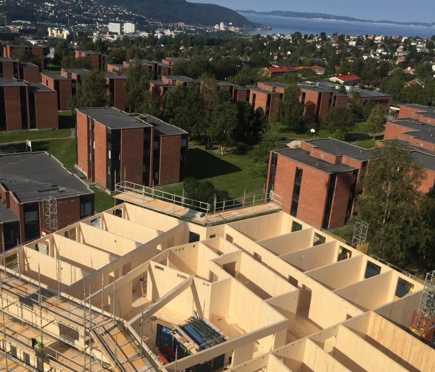Construction en bois de 9 étages à Trondheim Moholt Norvège