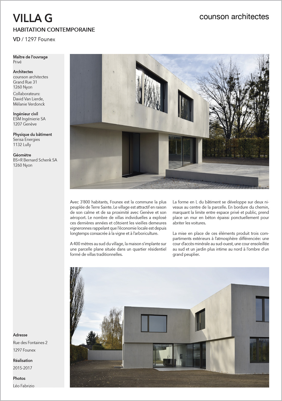fiche DYOD Villa Counson architectes