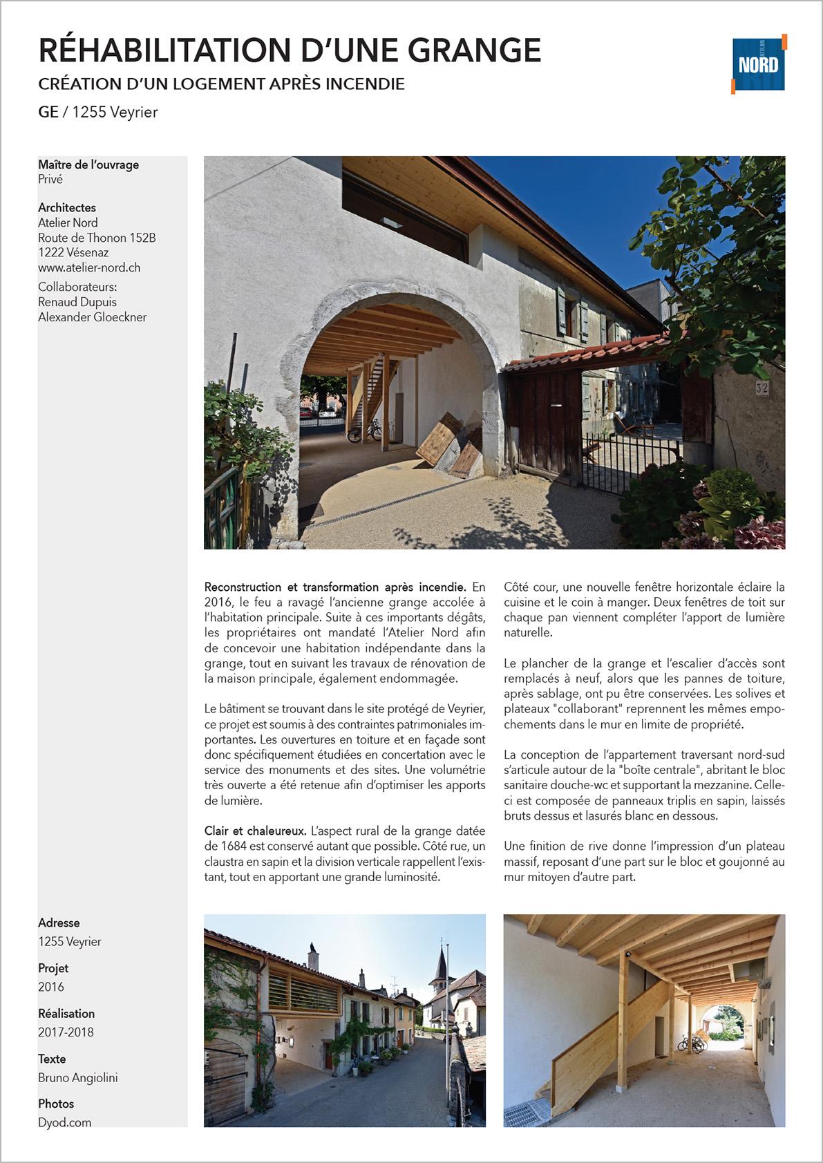 réhabilitation grange à Veyier Genève
