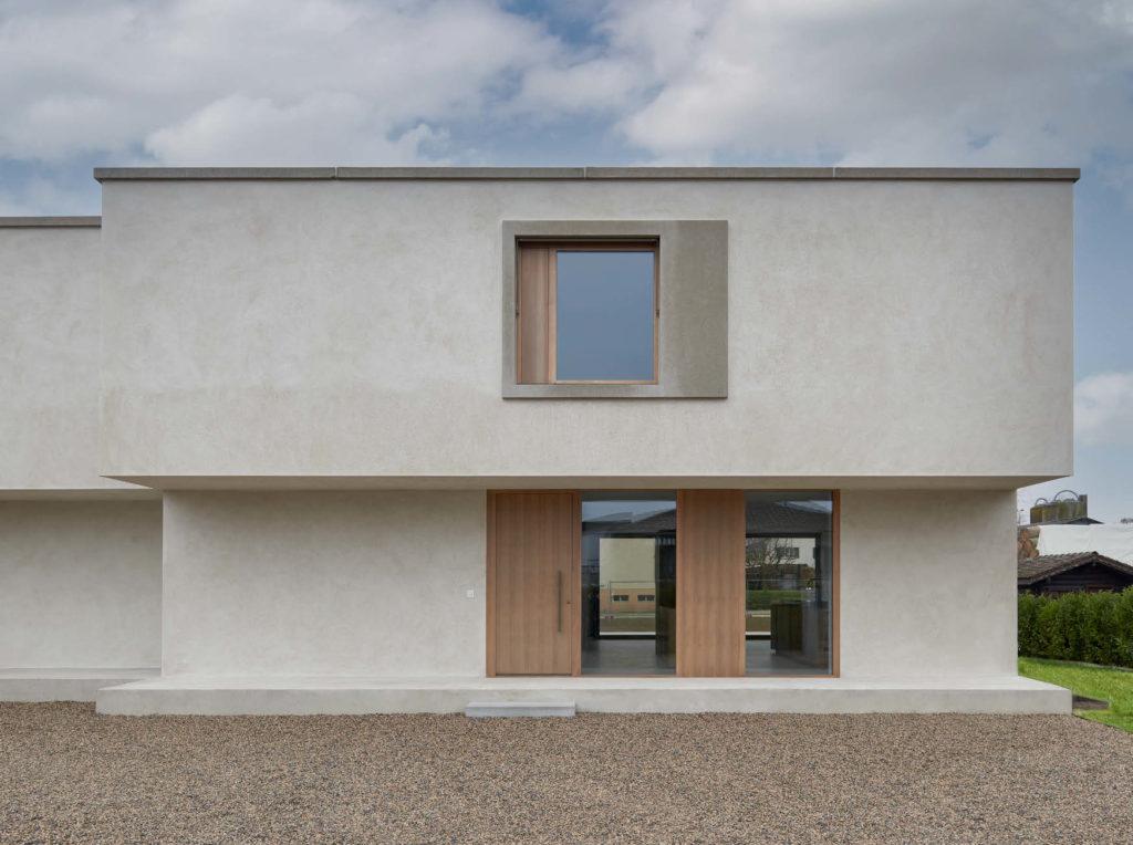 Villa contemporaine en béton vue extérieure