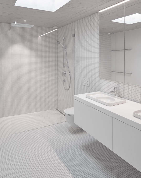 Villa contemporaine en béton vue salle de bains