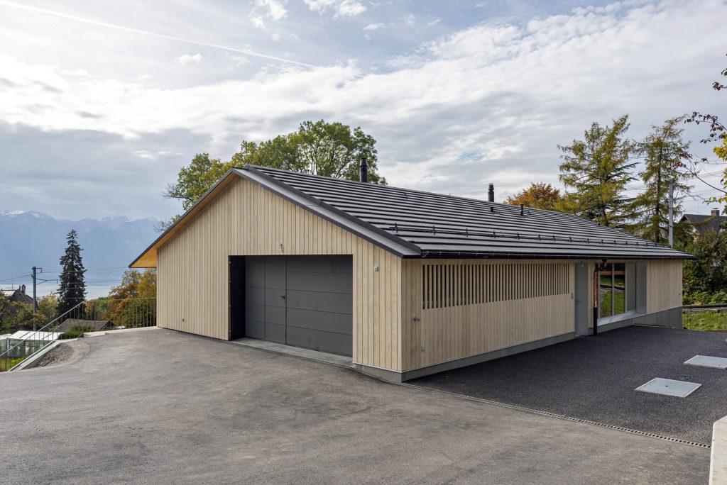 Villa contemporaine Blonay Sc Architectes vue façade sud MFP