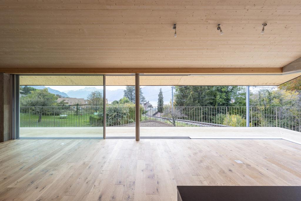 Villa contemporaine Blonay Sc Architectes Vitrage d'angle SwissFineLine