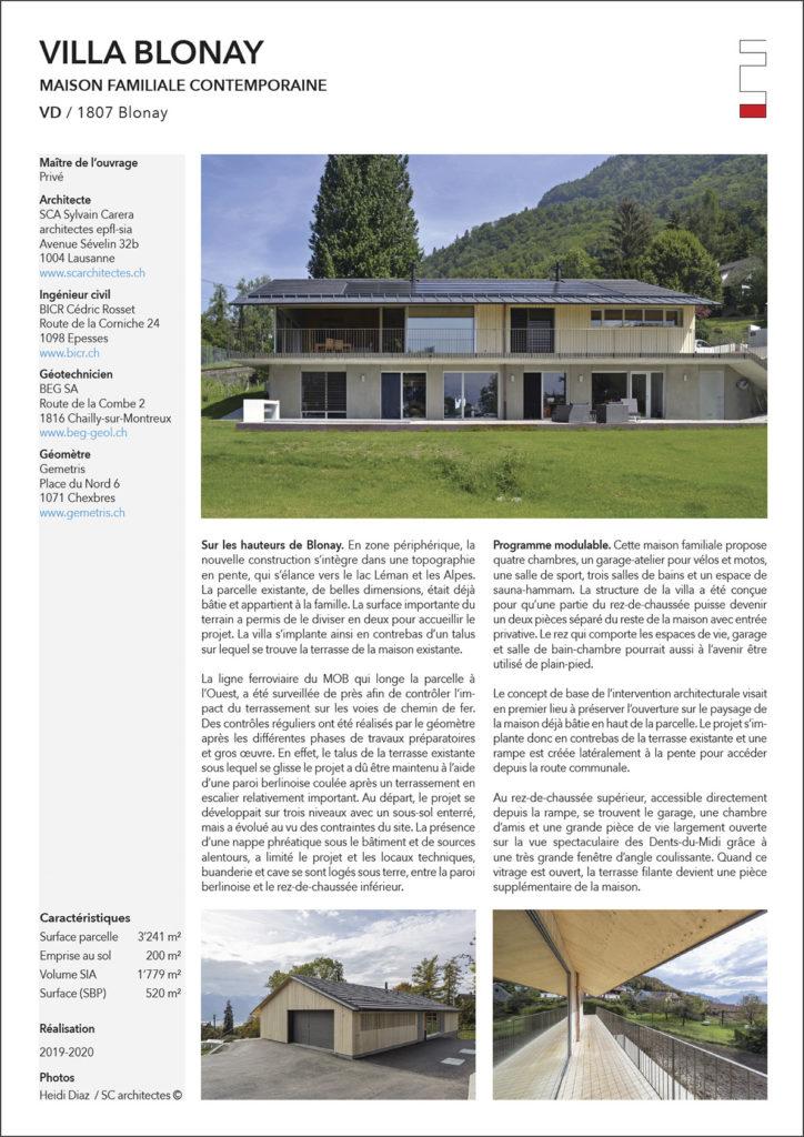 Villa contemporaine Blonay Sc Architectes